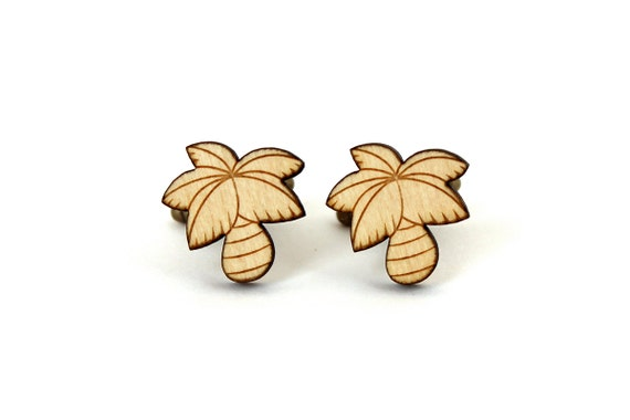 Palm tree cufflinks - coconut tree cuffs - California - tropical wedding - lasercut maple wood - groom - bestman - kitsch accessory