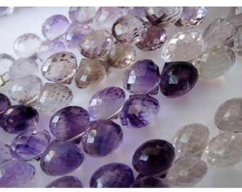Rutilated Amethyst, Amethyst Rutile, Faceted Onion Briolette Beads, 7mm Beads, 28 Pieces, 4.5 Inch Half Strand