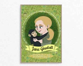 Donne nella scienza, Jane Goodall, antropologa e primatologa, Jane Goodall stampa, regalo per scienziata, donne nella STEM, poster scienza