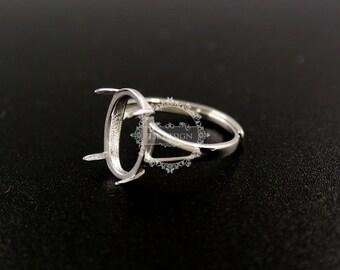 1pcs 10x14MM oval prong setting 925 sterling silver ring bezel basic ring size diameter 16.5mm DIY adjustable ring setting 1223083