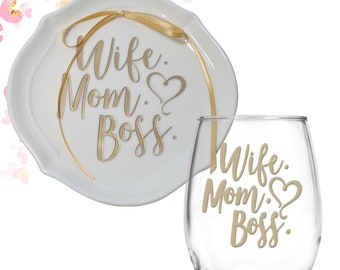 Wife Mom Boss Gift Set | Ring Dish Wine Glass Set | Boss Mom | Gift for Her | Gold Metallic | Gift for Mom | Girlfriend Gift | Birthday Gift