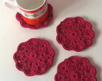 Crochet coaster - coaster set - crochet decor - drinks coaster - drinks mat - coasters crochet - crochet doily - crochet flower