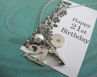 21st Birthday Gift | Personalized initial Necklace | 21st Birthday card | Gift For Daughter | Sister Gift | Daughter Gift | Best Friend Gift