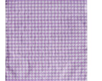 Set of 3 purple lavender HOD072 gingham paper napkins