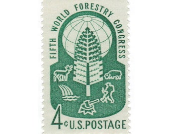 10 Unused Vintage Postage Stamps - 1960 4c Fifth World Forestry Congress - Item No. 1156