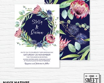 Protea Wedding Invitation Printable, Australian, Eucalyptus Leaves, Gum Leaves, Navy, Native Flowers, Nature, Spring Wedding, prink and navy
