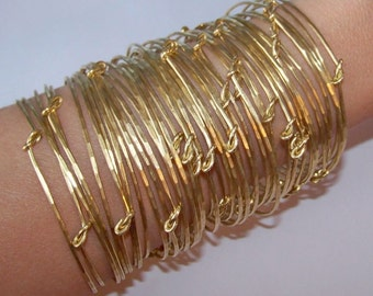 Bangle Bracelets - 50 KNOTTED Stackable Bangles - WHOLESALE - Available in Red and Yellow Brass - Copper - German Silver - Made to Order
