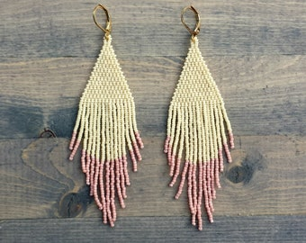 Pink and Cream Fringe Earrings