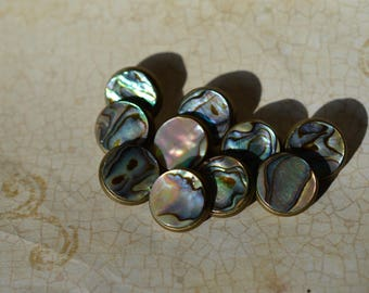 Handmade Abalone and Bronze Buttons