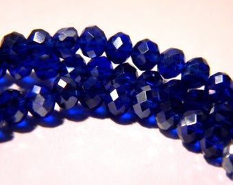 """75 glass beads - 4 x 3 mm - faceted - glass """"Crystal"""" bead abacus - royal blue - G144-4"""