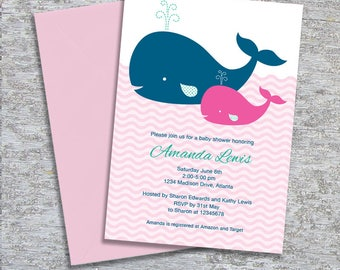Whale Baby Shower Invitation - DIY Printable Personalized - Baby Girl (Digital File)