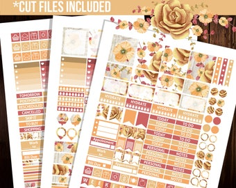 October Erin Condren horizontal planner stickers, Printable Erin Condren stickers, Weekly kit, Floral stickers - STH017