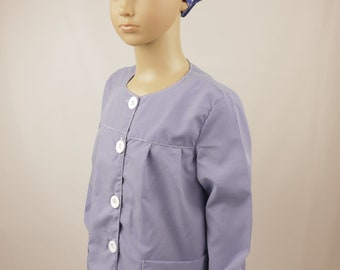 Childs Gingham Art & Activity Smock - Ideal for play, painting and cookery (BLUE)