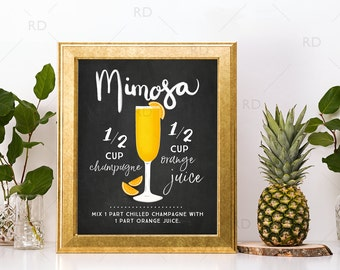 Mimosa Chalkboard Cocktail with Recipe - PRINTABLE Wall Art / Cocktails Mixed Drinks Wall Art / Hand Drawn Cocktails / Cocktails Printable