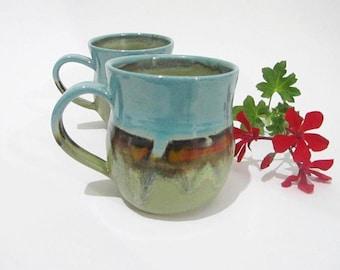 Coffee Mug, Tea Cup, Handmade Pottery Mug, Tea Mug, Handmade Ceramics in Turquoise Olive Green, Red Abstract Landscape Design