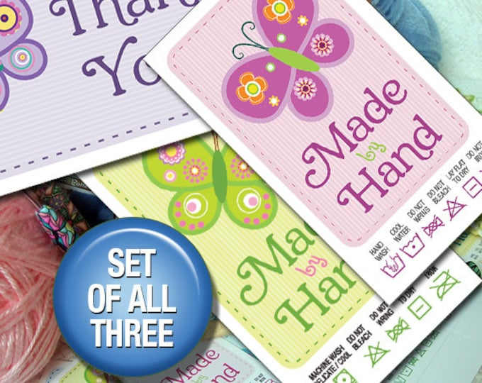 3 Files: Thank You notes,  Hand Wash AND Machine Wash Butterfly Theme
