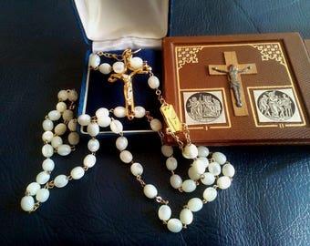 Catholic Rosary, Steps of Jesus, Authentic Spanish Prayer Beads with Natural Moonstones, Moonstone Religion Rosary, Crucifixion, Catholic