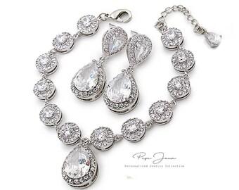 Wedding Bracelet Earrings set Zirconia Rhinestone Bracelet Earrings Wedding Jewelry Bridal Jewelry Bridesmaid Bracelet Bridesmaid Gifts