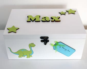 Personalised dinosaur memory box - customized keepsake Box - New Baby Gift - Christening gift