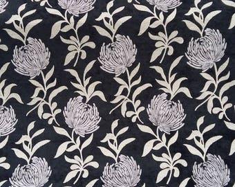 Dahlia fabric - Fabric black and Grey - Velvet Chenille fabric - fabric flowers - upholstery fabric - Robert fabrics - 1/2 meter