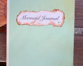 ANTIQUED Mermaid Journal, Beach, Sea, Siren