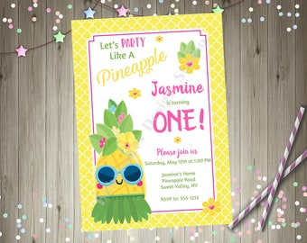 Party Like a Pineapple Birthday Invitation Invite Luau Party Tropical Party Printable Invitation 1st birthday Cute Pineapple Hula Sunglasses