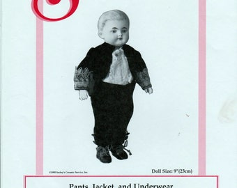 "Seeley's Dollmaker's Pattern No. CP939 - Pants, Jacket and Underwear for 9"" all-bisque dolls"