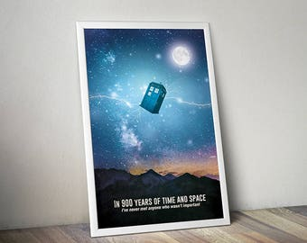 Doctor Who poster Tardis poster Doctor Who art alternative poster Dr Who Space poster Science Fiction poster Quote poster