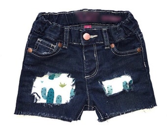 Girls Distressed Denim, Girls Patched Jeans, Girls Jean Shorts, Girls Distressed Denim Skinny Jeans, Girls Denim, Girls Shorts, Distressed