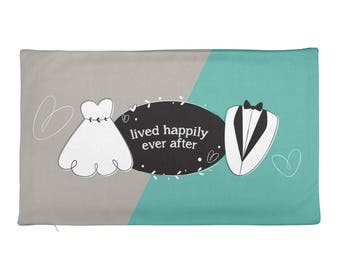 Bride & Groom Rectangular Pillow Case only - Lived Happily Ever After