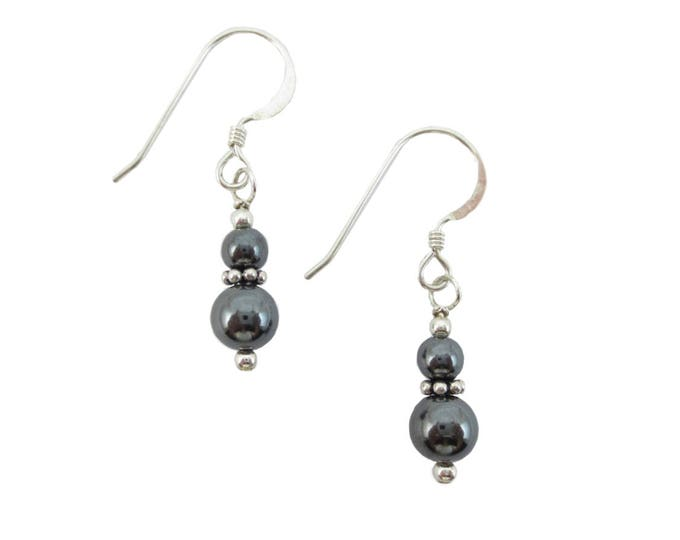 Hematite Earrings - 4 and 6 mm - Stacked Earrings