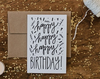 "Birthday 4""x6"" Greeting Card - Happy Happy Happy"