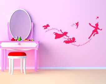 Peter Pan Wall Art Quote, Nursery Wall Art Sticker, Decal, PVC Transfer.