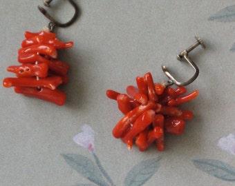 Vintage Red Branch Coral Earrings
