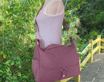 Purple canvas shoulder bag, messenger bag, diaper bag, travel bag, womens purse