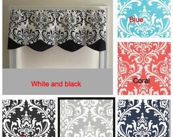 curtain window valance , home decor window,decorative valance, window curtain, scalloped style. purple, black and white.