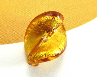 1 - small amber leaf - 15 * 10 mm Lampwork bead