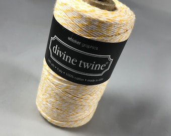 FULL SPOOL - Bakers Twine - Divine Twine - 100% Cotton -  One Color - 240 Yards - Lemon Yellow Shown