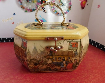 Vintage  Polygon Yellow Anton Pieck Wood Decoupage Box Purse