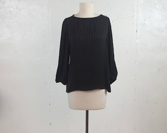 Vintage 1980s Prophecy Long Sleeve Black  Striped Blouse with Ivory Stitching