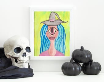 Witch Cyclops - Witch Art - Witch Girl Art - Witch Art Print - Cyclops Art- Fantasy Girl Art- Witchcraft - Wall Art - Magical Girl - Cyclops