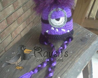 Evil Purple Minion Inspired Ear Flap Hat- MADE to ORDER- Newborn to Adult sizes
