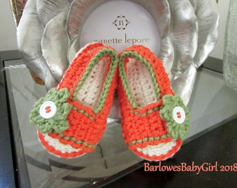 NEW - Buggs - Crochet Girl's Side Button Closure w/ Flower Accent Sandal in Bright Orange and Fern - Customize Your Color