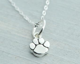 Paw Print Necklace, Paw Print Pendant, Charm Pendant, Paw Print Jewelry, Pet Jewelry, Dog Lover, Paw Print Charm, Sterling Silver Paw Print
