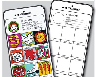 All About Me Back to School 'Smart-Art Phone' creative activity. Kids fold out booklet 'Instagram' style art project Instant pdf download