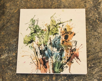 Floral greetings card from an original painting by Donna Jonas.   Sea of Grass Studio.