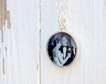 Custom Portrait Necklace, Custom Signature Necklace, Custom Memorial Necklace, Double sided Memorial, Your Loved Ones Actual Signature