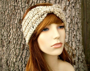 Womens Oatmeal Earwarmer - Oatmeal Turban Headband - Oatmeal Headband Womens Hair Accessories - Womens Accessories