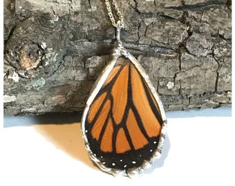 Real Monarch Butterfly Wing Necklace
