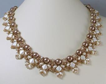 Woven Pearl Necklace Cream Silky Beads and Golden O Beads Crystal Accents
